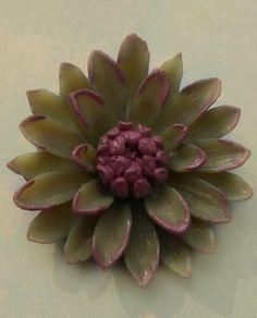 Vintage olive and eggplant coloured, flower button.  Eggplant purple, olive green, but ARTICHOKE delight.
