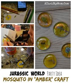 Jurassic World Party ideas, Jurassic Park mosquito in amber craft, fun dinosaur project for kids, popular party ideas