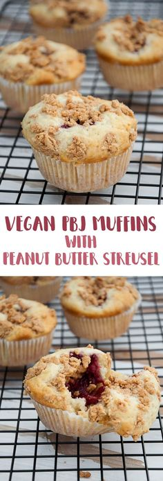 These delicious PBJ Muffins are filled with homemade strawberry chia jam and topped with Peanut Butter Streusel. All vegan and plant-based! Delicious!