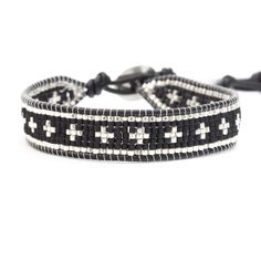 Chan Luu - Black Beaded Cross Single Wrap Bracelet on Natural Black Leather, $145.00 (http://www.chanluu.com/mens-bracelets/black-beaded-cross-single-wrap-bracelet-on-natural-black-leather/)