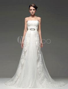 Elegant Ivory Beading Strapless A-line Bridal Wedding Dress - Milanoo.com