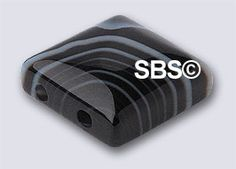 Striped Black Agate 10x10 2-Hole 12 pack or by the strand.