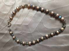 grey fresh water pearl NECKLACE faceted labradorite rondells + sterling silver rope toggle clasp on Etsy, $116.00