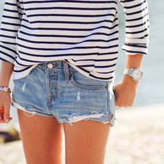 Striped shirt and denim cutoffs