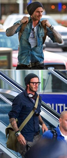 DAVID BECKHAM AIRPORT STYLE FASHION TATTOOS BEANIE BLACK THICK FRAMES EYEGLASSES DENIM SHIRT BUTTON DOWN BASIC TEE TSHIRT CANVAS MESSENGER BAG BACKPACK WATCH BELT MENS STYLE FASHION BLOG   Soccer Stars Travel  multicityworldtravel.com cover  world over Hotel and Flight deals.guarantee the best price
