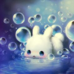 An entry from 。♥‿♥。 Kawaii Forever。♥‿♥。 Cute Animal Drawings, Kawaii Drawings, Cute Drawings, Art Kawaii, Kawaii Bunny, Anime Animals, Cute Chibi, Cute Creatures, Cute Illustration