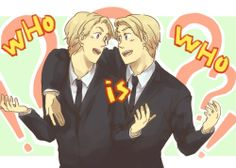 Hetalia North American brothers- they should wear matching contacts to hide their eyes. Lol