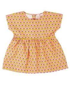 Kleid Äpfel rosa/gelb