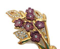 Bouquet floral broche fleur Marsala strass Vintage Spray Floral broche Broche violet métallique fleurs automne broche mousseux strass