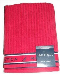 Nautica Unisex Red/Black 100% Cotton Signature Bath Towel NWT #Nautica