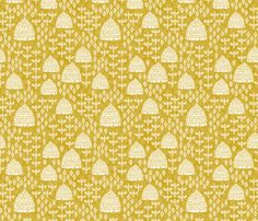 bee hives // golden yellow spring florals flower bumble bee linocut block printed textiles fabric by andrea_lauren on Spoonflower - custom fabric