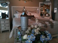 Such a pretty bedroom... Sort of a luxe, vintage look.