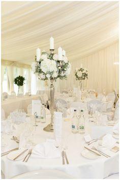 New Hall Wedding Flowers ~ Elegant Candelabra, Hydrangeas
