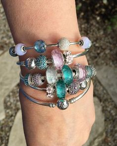 Happy stack of Pandora for another steamy hot day! #pandorabracelets…