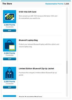Screenshot of our internal Rewards Store. Bluewolf employees use their #GoingSocial points to purchase rewards.