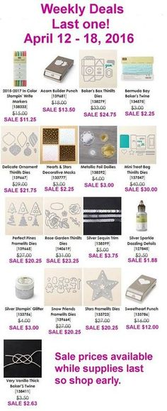 It's a GRAND FINALE of deals in Stampin' Up!'s final Weekly Deals promotion.  These items are 25% off through Monday, April 18th or while supplies last. Grab yours before they're gone through my online store and I'll send you a free PDF tutorial!  No minimum order required.   Stampin' Up!, card, paper, craft , paper, scrapbook, craft, rubber stamp, hobby, how to, DIY, handmade, Lisa Curcio, Big Shot, Sizzix, www.lisasstampstudio.com
