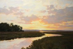 "South Carolina artist ""Creek Sunset"" by Michael B. Karas. (Oil Painting)"
