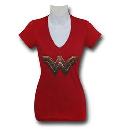 BVS Wonder Woman Symbol Women's V-Neck T-Shirt