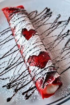 ♥ Red Velvet Crepes --- For Valentine's Day, Christmas or just a wonderful, eye-catching . ♥ Red Velvet Crepes — For Valentine's Day, Christmas or just a wonderful, eye-catching dessert at any t Just Desserts, Delicious Desserts, Dessert Recipes, Yummy Food, Pancake Recipes, Waffle Recipes, Bar Recipes, Yummy Recipes, Dinner Recipes