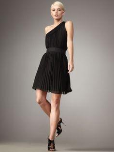 Sheath / Column One Shoulder Ruffles  Sleeveless Short / Mini  Chiffon Little Black Dresses