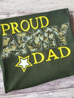 This is a Proud Army Dad shirt. Available in a unisex tee, long sleeve, and hoodie. This shirt is available in sizes S-XXL send a message to set up sizing/color personalization. ***Normal Production t Army Shirts, Dad To Be Shirts, Proud Dad, Dads, Unisex, Hoodies, Long Sleeve, T Shirt, Gift Ideas