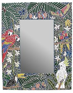 mirrored mosaic | Forest of Parrots Mosaic Mirror
