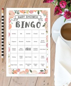Baby Shower Game Idea - Baby Shower Bingo. Only from CreativeUnionDesign.Etsy.com https://www.etsy.com/listing/277013058/vintage-rose-baby-shower-bingo-50-unique