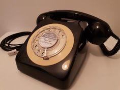 Original Vintage Retro 1970's GPO 746 Rotary Dial Black Telephone Restored