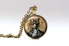 Gorgeous Cat pendant in bronze or silver finish. Unique Victorian necklace.Amazing Steampunk jewelry with a chain or a leather cord. SIZE: 1 inch