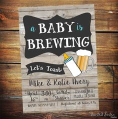Baby is brewing, Coed baby shower invitation- Beer baby shower invitation- couples baby shower - Digital Files Only, BBQ Coed Baby Shower Invitations, Baby Shower Invitaciones, Diaper Party Invitations, Retro Baby, Baby Shower Games, Baby Shower Parties, Baby Shower Co Ed, Baby Shower For Men, Shower Party