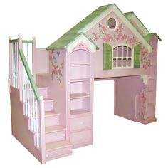Manchester Playhouse Loft Bed w/ Built In Dresser, Lavender Thumbnail 2 House Beds, House Rooms, Kids Bedroom, Bedroom Decor, Kids Rooms, Bedroom Ideas, Bed Ideas, Kids Beds With Storage, Storage Beds