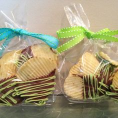 Chocolate dipped chips.  I made these as little take-home treats.  It's a great combination of sweet and salty.