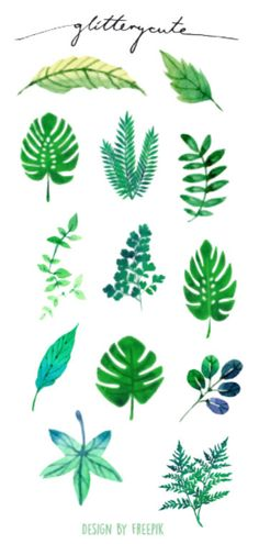 Exotic Tropical Leaves and Ferns Planner Stickers by glitterycute