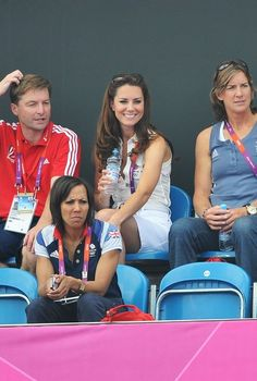 LONDON, ENGLAND - AUGUST 10:  Catherine, Duchess of Cambridge (C) attends the Women's Hockey bronze medal match between New Zealand and Great Britain on Day 14 of the London 2012 Olympic Games at Riverbank Arena Hockey Centre on August 10, 2012 in London, England.