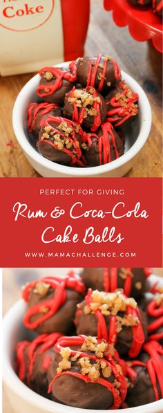 Forget the fruitcake, these Rum and Coke Cake Balls are the way to ring in the season. This recipe can be made without the spirits, but all the flavor. Coke Cake, Coca Cola Cake, Fun Desserts, Delicious Desserts, Dessert Recipes, Cake Ball Recipes, Cookie Recipes, Cola Recipe, Cake Truffles