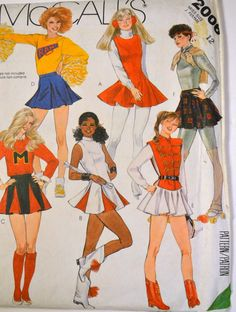 Vintage Sewing Pattern McCall's 2008 Misses' Cheerleaders Costumes Size 12 Bust 34 Inches UNCUT Complete by GoofingOffSewing on Etsy