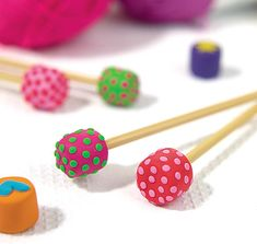 Polka Dot Clay Knitting Needle Ends - Free Craft Project – Knitting and Crochet - Crafts Beautiful Magazine