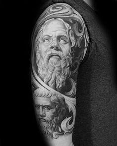 Socrates Half Sleeve Heavily Shaded Tattoo Ideas For Males