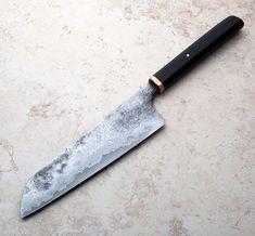 Bog Oak Damascus Santoku 197mm handmade in Japan by Alexander Bazes.