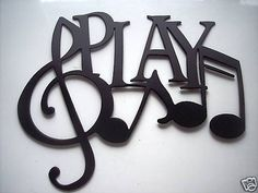 Metal Wall Art Decor Music Play And Notes , Made Of Steel, Painted Black, In New Condition, Measures 9 1/2 Wide By 8 Tall. Check out my other