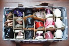 Genius Ways to Keep Shoes Tidy Just one more use for the Lg Utility Tote.just add wine box dividers and you have a great shoe storage tote.Just one more use for the Lg Utility Tote.just add wine box dividers and you have a great shoe storage tote. Shoe Storage Solutions, Diy Shoe Storage, Tote Storage, Shoe Cubby, Shoe Storage Dividers, Shoe Storage Ideas For Small Spaces, Shoe Storage Travel, Budget Storage, Shelf Dividers