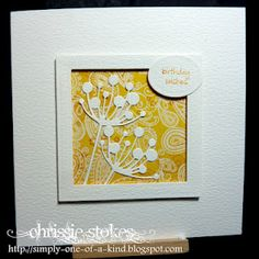 handmade greeting card featuring Chloe Stem Die by Memory Box ,,, white die cut on bright yellow pattern . like the raised framing . Memory Box Cards, Poppy Cards, Stencils, Scrapbook Cards, Scrapbooking, Scrapbook Templates, Sympathy Cards, Card Tags, Creative Cards
