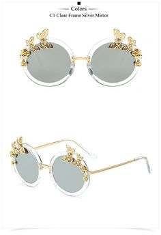8b7a59d0e49 2017 Fashion Women Round Sunglasses New Butterfly Decoration Sun Glasses Vintage  Round Luxury Oversized Eyewear MA209-in Sunglasses from Women s Clothing ...