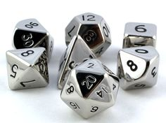 RPG Dice Set (Metal, Chrome 12mm Mini) role playing game dice
