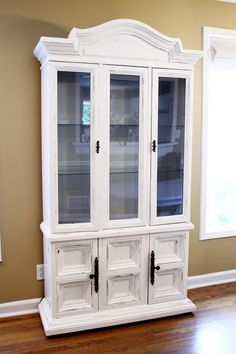 restyled china cabinet in White Dove by Benjamin Moore