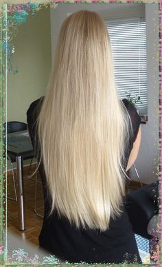 Yes her hair is real, no bleaching! Natural platinum blonde  healthy thin hair. Ponytailcircumference a bit over 6cm. Absolutely gorgeous!