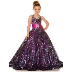 Apparel: Sugar Stunning Glittery Purple Halter Neck Pageant Dress Girls 2T-14: Buy New: £397.96 [UK & Ireland Only]