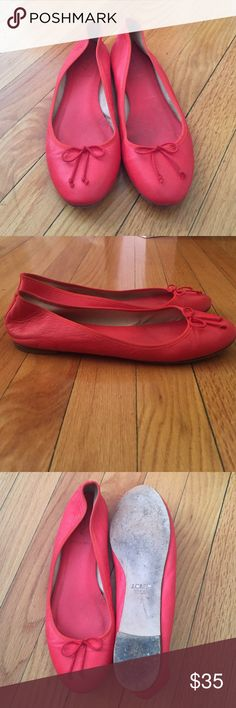 J. Crew flats Adorable J. Crew ballet flats with tie on front! Leather shoes with leather soles. Only worn a couple of times, fun color to add to any outfit! J. Crew Shoes Flats & Loafers