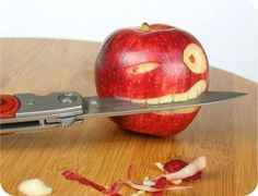 this would be a fun way to serve up an apple to little man. .. sans sharp object of course!