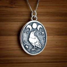 Raven and Triple Moon Pendant STERLING by LittleDevilDesigns